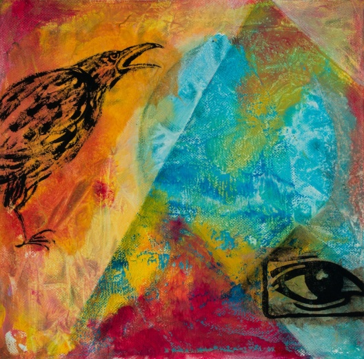 Whose Voice Is Heard?; acrylic on canvas, 10x10, photo by Gary Lowell