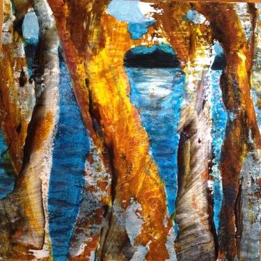 Nora Tryon, Moon Dance, acrylic on board, 10 x 10 in.