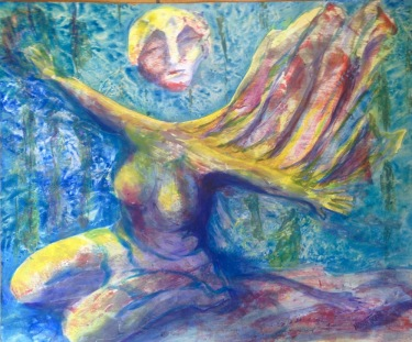 Nora Tryon, Attempting To Fly, She Floats, acrylic