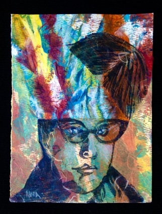 Nora Tryon, Self Portrait, Gratitude Project 2020, mixed media